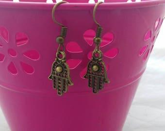 Mandala Hand Earrings, Spiritual Hamsa Hand Dangle Earring, Protection Spirit Charms, Bronze Yoga Style Earrings, Symbol Fashion Earrings