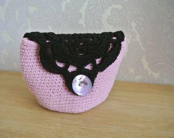 Pink and Black Crochet Make-Up Kit