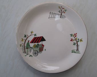 Alfred Meakin 9 inch small dinner plate in the Boulevard fruit seller design.