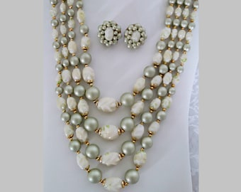 Vintage 4 Strand Necklace and Clip Earrings, Sage & White Beads, Signed Hong Kong, Demi Parure, Hook Clasp, Mid Century, Circa 1960s