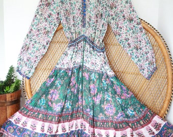 Vintage gauze floral paisley cotton hippy indian 70s boho smock gypsy midi dress S M