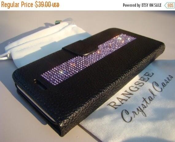 Sale iPhone 7 Case Purple Amethyst Rhinestone Crystals on Black Wallet Case. Velvet/Silk Pouch bag Included, Genuine Rangsee Crystal Cases.