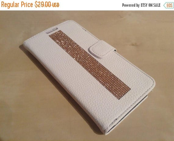 Sale Galaxy Note 4 Rose Gold Rhinestone Crystals on White Wallet Case. Velvet/Silk Pouch bag Included, Genuine Rangsee Crystal Cases.