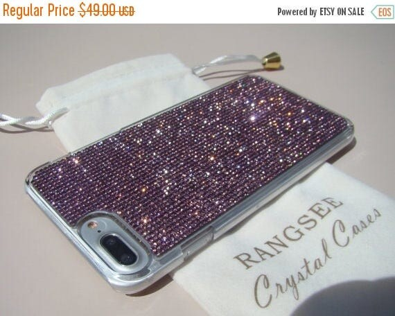Sale iPhone 7 Plus Case Purple Amethyst Rhinestone Crystals on Transparent Clear Case. Velvet Pouch Included, Genuine Rangsee Crystal Cases