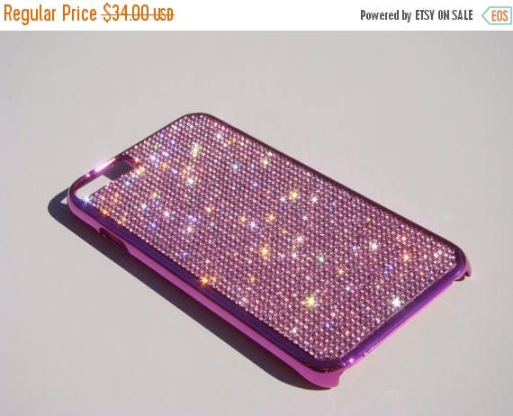 """Sale iPhone 6 / 6s 4.7"""" Pink Diamond Rhinestone Crystals on Pink Chrome Case. Velvet/Silk Pouch Bag Included, Genuine Rangsee Crystal Cases."""