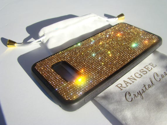 Galaxy S8+  Gold Topaz Crystals on Black Rubber Case. Velvet/Silk Pouch Bag Included, Genuine Rangsee Crystal Cases.