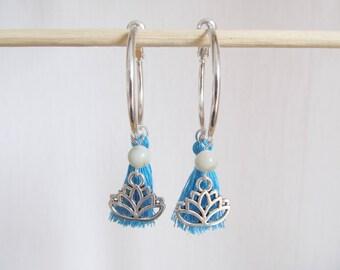 Lotus earrings, yoga earrings, tassel earrings, tassel jewelry