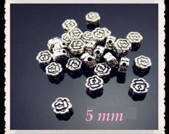 10 BEADS METAL SILVER FLOWERS 5 MM CREATING JEWELRY BRACELETS EARRINGS NECKLACES