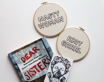 Feminist / Nasty Woman / Riot Grrrl / Hand Embroidery Hoop Art