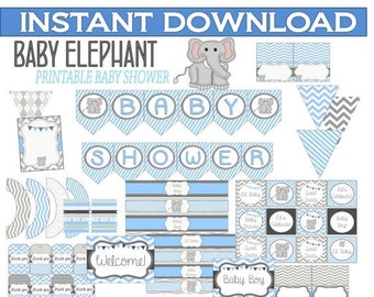 60% OFF Elephant Baby Shower Printable, Instant Download, Gray and Blue Chevron, Elephant, Baby Shower Package, Over 100 Items, instant down