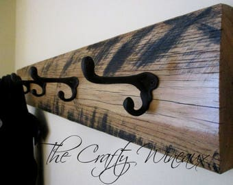 Five Hook Reclaimed Barn Wood Coat Hanger with Wrought Iron Hooks, Upcycled Wood, Farm House Decor #6