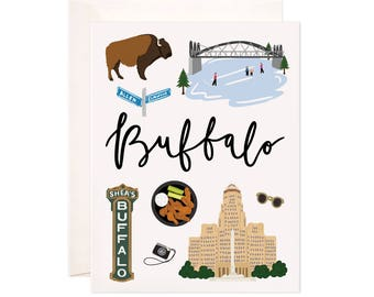 Illustrated Buffalo New York Greeting Card