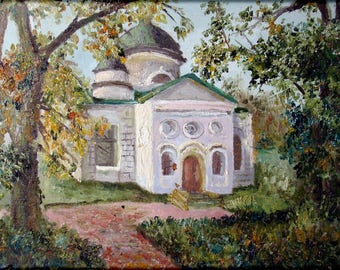 Old Temple - Original Oil Painting -15,7x11,8 inch