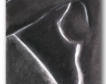 charcoal drawing painting, a breast of a female nude from a pose, close to the breasts