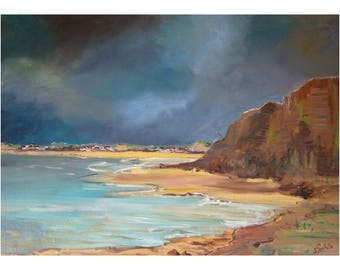"""painting oil landscape, modern painting, depicting the Cape gray nose in the not of """"Calais"""""""