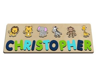 Jungle Friends Personalized Wooden Name Puzzle for One (1) or Two (2) Names Toy Puzzle for Boy Blue and Green Great for Long Name 586110611