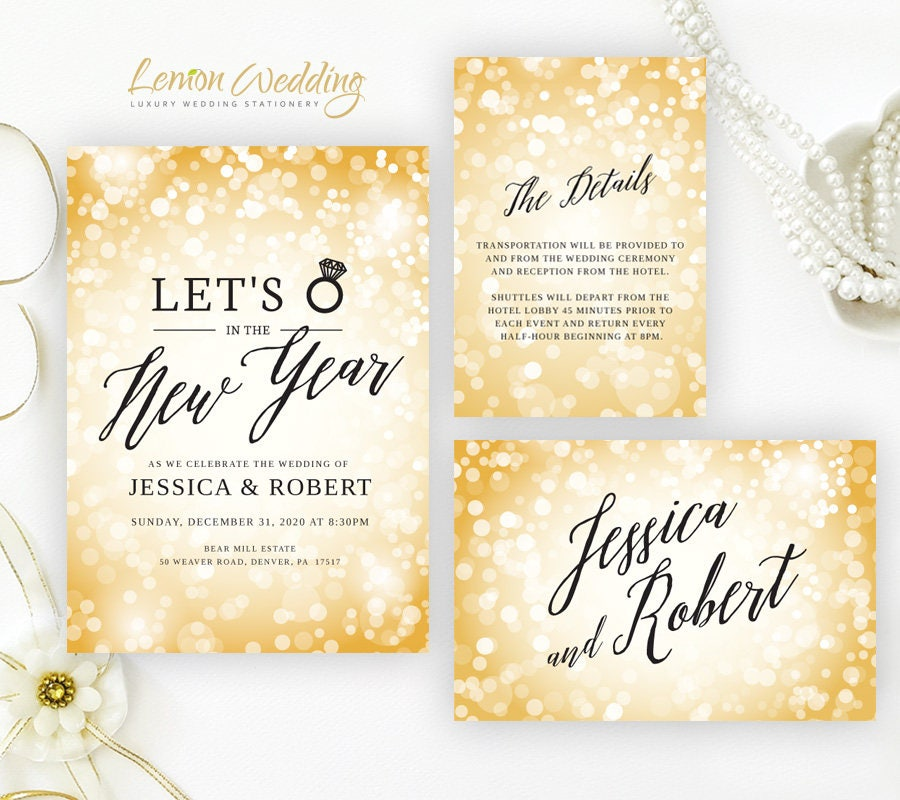 Sparkle New Years Eve wedding Invitation sets Gold glitter