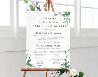 Modern Botanical Wedding Program Sign, Wedding Program Poster, Wedding Program Signage, Wedding Program Printable PDF - (Item code: P1059)