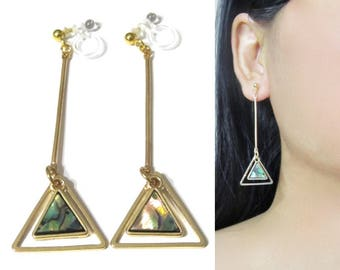 Triangle Abalone Shell Hoop Clip On Earrings |34B| Gold Dangle Clip On Earrings, Invisible Non Pierced Clip-ons, Bar Long Clip Earrings