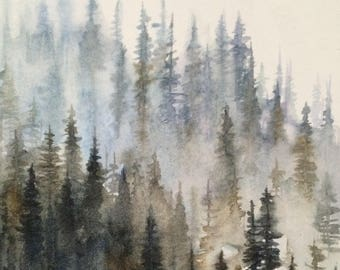 Forest painting, painting forest, forest watercolor, Misty forest, Misty pines, pine trees, Misty mountains, watercolor trees, tree painting