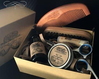 Ultimate Beard Grooming Kit, Beard Care, Christmas Ideas, Mens Kit For Gift Set Beard Box, Gift for Stylish Savvy Trendy, Cherrywood Comb
