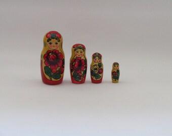 Vintage Russian rustic wooden matryoshka doll, Russian souvenir, Wooden matryoshka, vintage matryishka, Aunt Olga, Babushka or Mommy doll