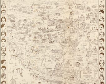 Poster, Many Sizes Available; Map Of Hollywood California Land Of Stars 1937