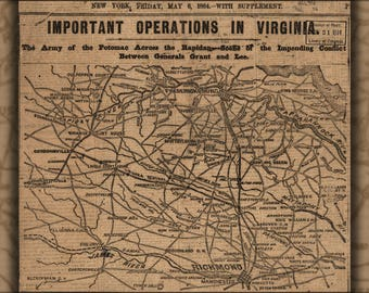Poster, Many Sizes Available; Civil War Map Of Operations In Virginia 1864