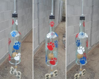 Dog themed gifts, Patriotic yard decor, Paw print wind chime, Dog lover gift personalized, Wine bottle art with red/white/blue doggie paws