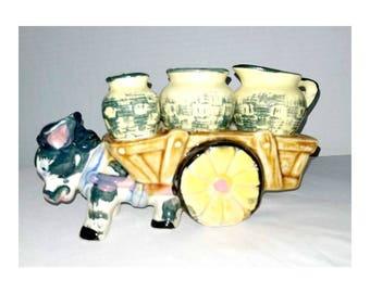 Vintage Donkey Cart with Condiments,Donkey Creamer Set,Donkey Shakers,Japan,Relco,Donkey Figurine,Donkey with Cart,Kitschy,1950s