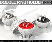 DOUBLE RING HOLDER (Option) to All Ring Boxes - proposal ring box, wedding ring, marriage, matrimony, bridal, ceremony, gift, jewel, stand