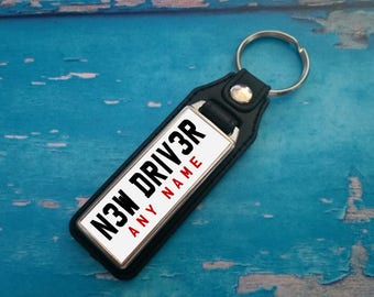 Personalised Silver Plated Keyring - Key Ring - Key Chain - NEW DRIVER - Add your name - Great Gift - White