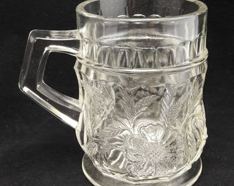 Antique Glass Mug with Handle | Early 1900's Coffee or Tea Mug | Etched Glass with Floral Pattern | Unique Pen Holder or Trinket Storage
