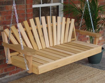 Brand New 6 Foot Cedar Wood Sunrise Porch Swing with Hanging Chain - Free Shipping