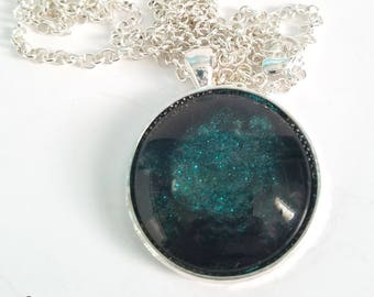 Handmade Teal and Black Glitter Design Glass Necklace in Silver-Tone Finish