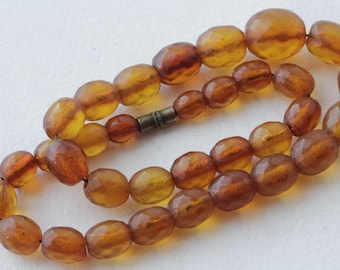 Old NATURAL Baltic Amber Beads Small faceted Necklace 22.41 gr. 自然琥珀色的小珠