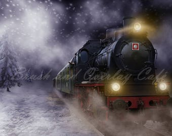 Polar Express Inspired Digital Backdrop/Background for Photoshop and Photoshop Elements