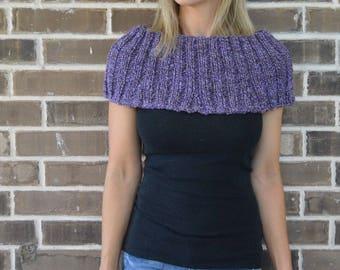 Knit Cowl // Handspun Yarn // Purple Cowl