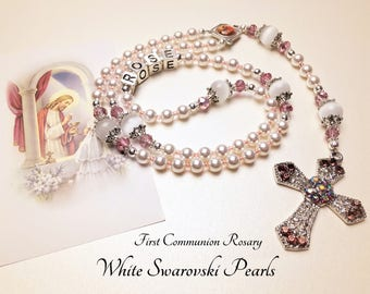 Personalized First Communion Rosary. Swarovski Pearls. White Rosary. Catholic Rosary. Catholic Gift. Holy Family Rosary. Girl Rosary. #2R173