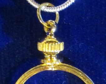 """24""""sterling silver necklace with Gold Filled coin bezel for Dimes**Two Tone***Coin Not Included***, + Gift Bag"""