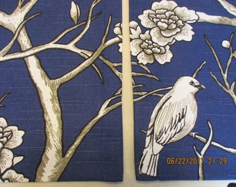 "DESIGNER Drapery Panels/ 2 panels- 63"", 84"", 96"",108"" / 1 Pair of Window Curtains / Floral Window Treatment with Doves, Birds"