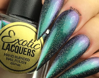 SwampThing Multi Chrome Color Shifting Holographic Nail Polish with Cyan, Greens and Purple shifts