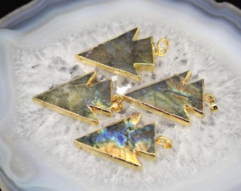 Natural Blue Flash Labradorite Pendant,Higher Quality Stone Arrow Pendant with Gold Edged