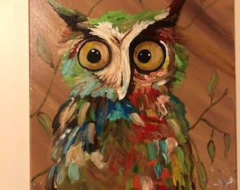 Funky abstract owl painting