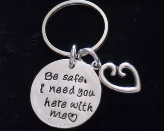 """New~Silver~ KEY RiNG  """"Be safe I need you here with me"""" and LoVE Heart~ Many M0RE Options~JW.org~ Gift ~ Intro Price 14.95"""