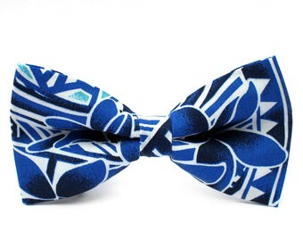 Blue and White Bow Tie, Hawaiian, Formal Bow Tie, Bow Tie for Wedding, Groomsmen Bow Tie, Mens Bow Tie, Boys Bow Tie, Dog Bow Tie, For Him