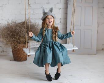 Long sleeve girls dress-Cyan Girls dress-Toddler flutter dress-Aqua collor toddler dress-Easter girls cotton dress-Birthday girls dress