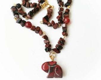 Red carved rabbit locket gemstone chain necklace red gemstone rabbit jewelry red jasper rabbit pendant red jasper chain red black carved