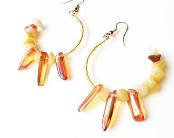 Huge rock orange quartz earrings big circle gemstone chips handmade jewelry gift for her for Mom Cristal unique seed beads ear hook drop