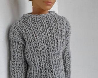 Hand knitted pullover for Ken, ski jumper, ken clothes